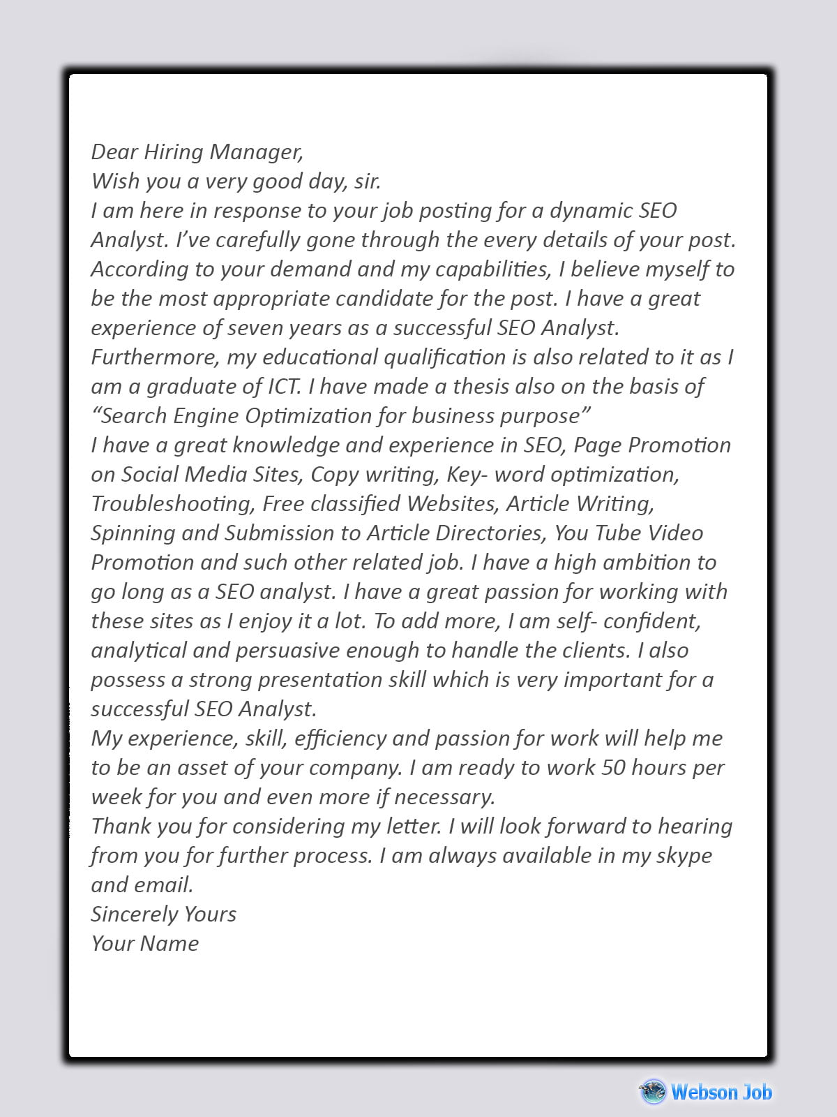Upwork Cover Letter Sample for SEO (Search Engine Optimization)