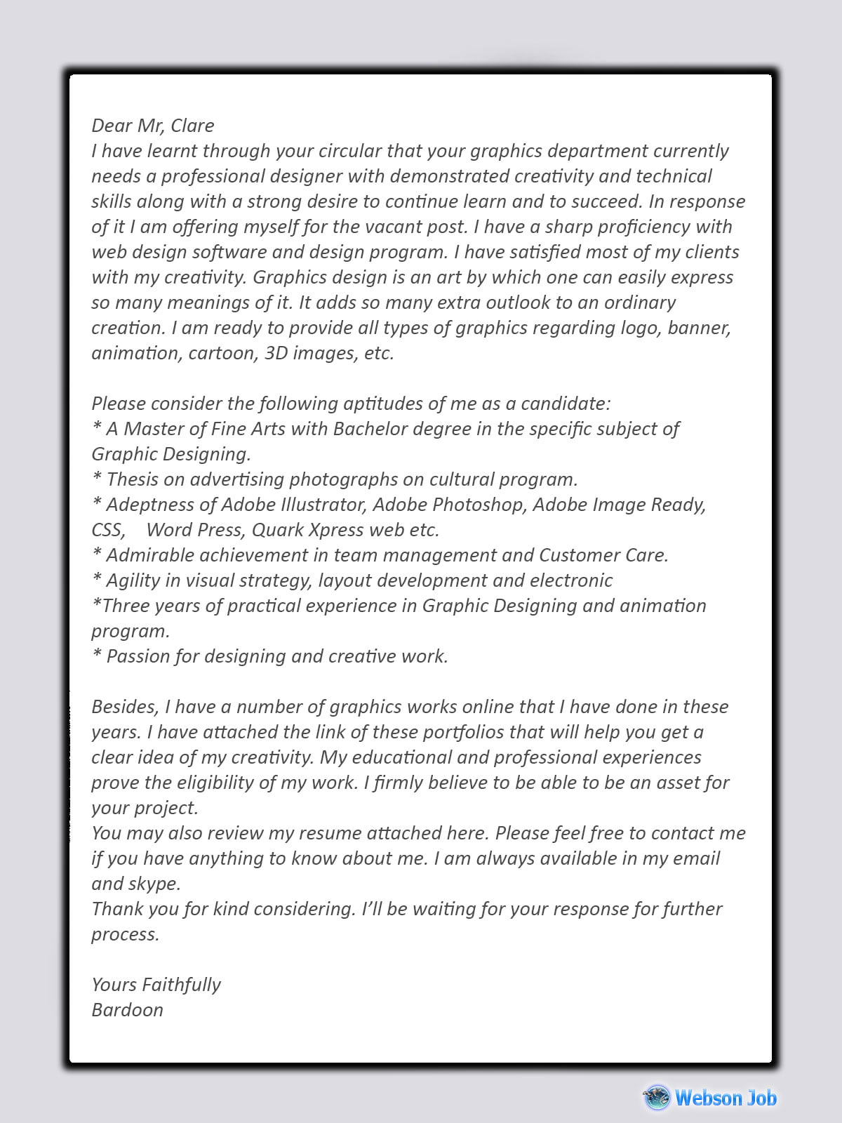 Graphics Designer Cover Letter Sample, Example and Format
