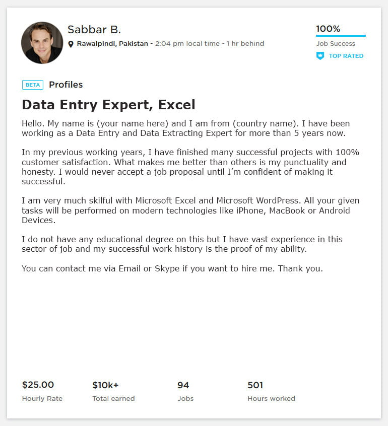 Data Entry Overview Sample and Example for Upwork