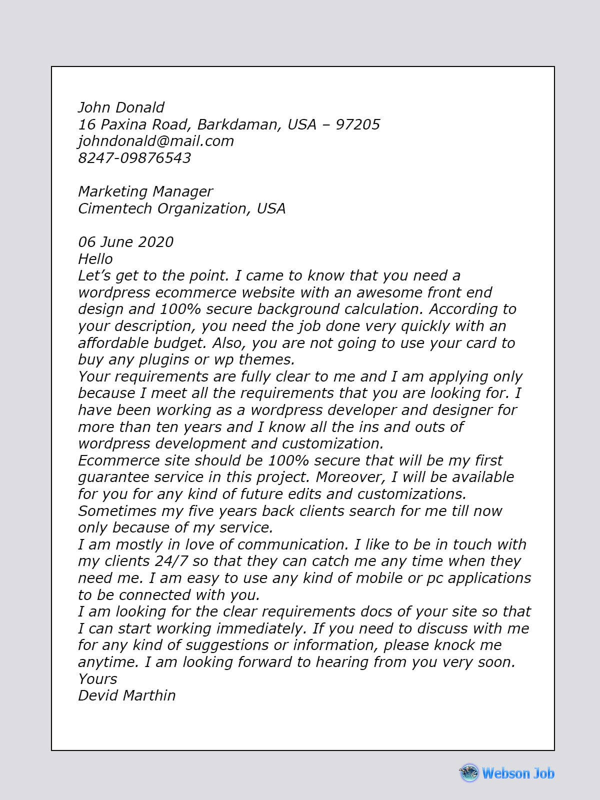Wordpress Developer Cover Letter Sample