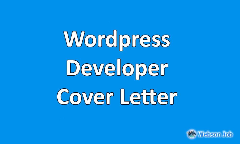 WordPress Developer Sample Cover Letter