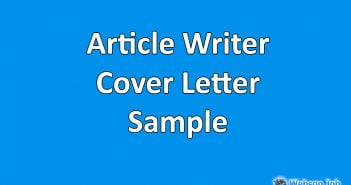 Cover Letter Sample for Articles Writer, Content Writer