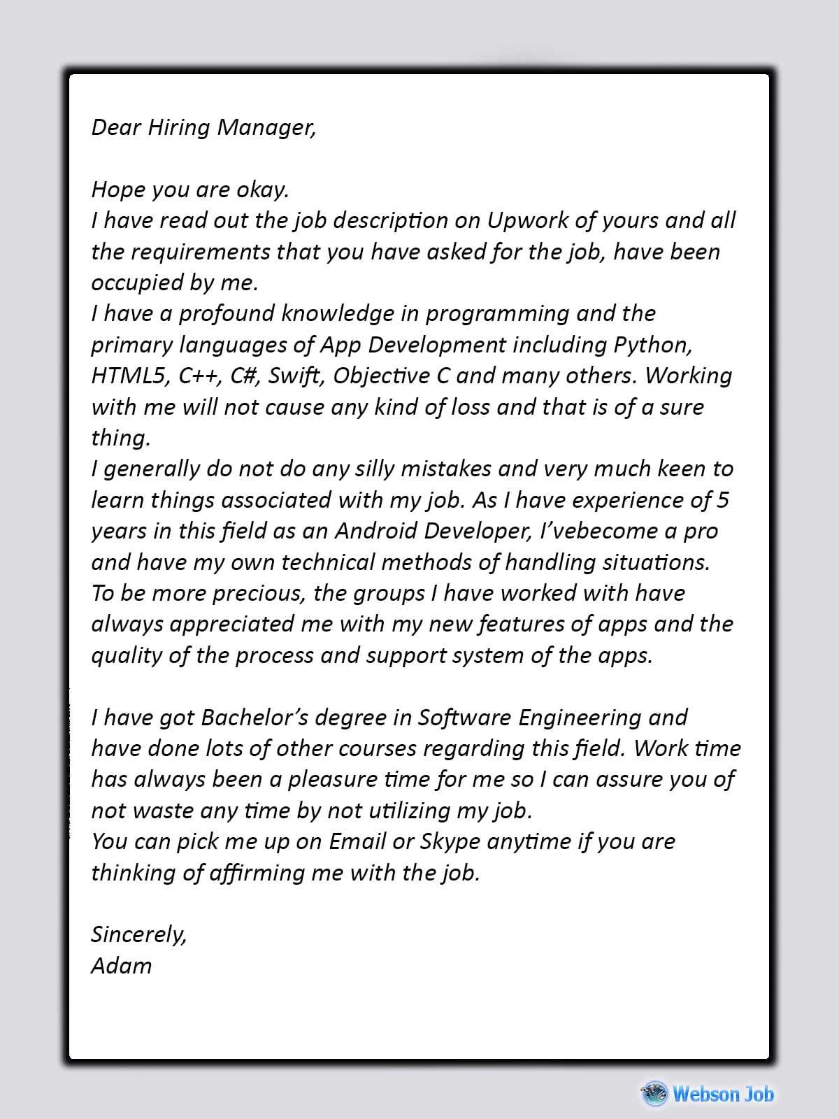 Upwork Proposal Sample for Android Developer