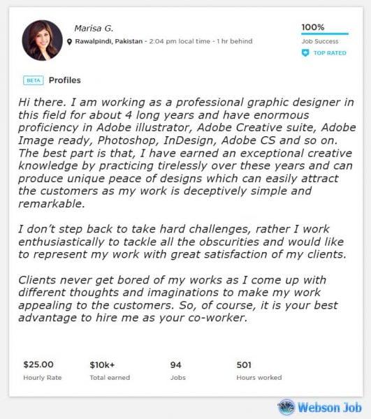 Upwork Profile Overview Sample for Graphic Designer