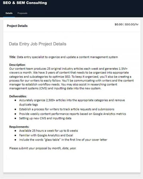 Data Entry Proposal Sample Freelancer (100% Job Success)