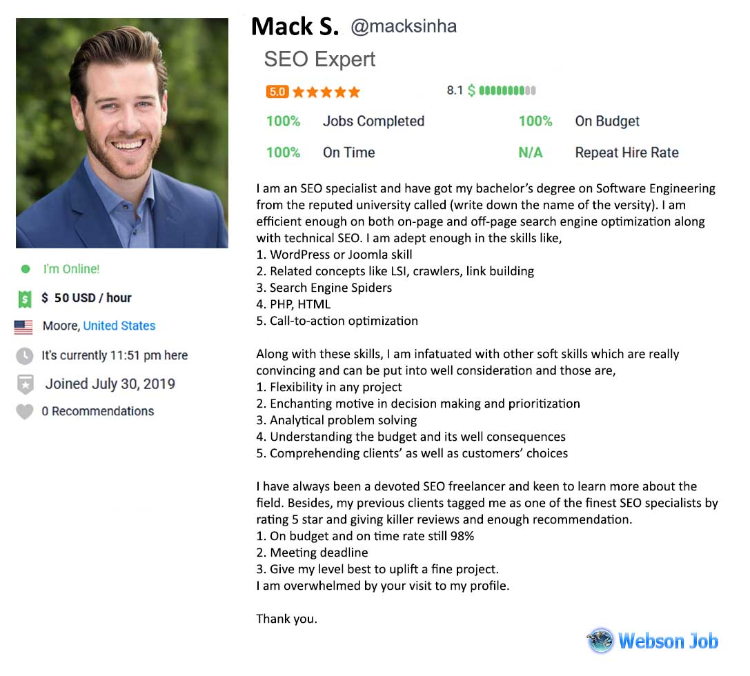 Freelancer Profile Summary Sample for SEO Expert