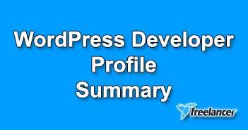 WordPress Developer Profile Summary Sample for Freelancer