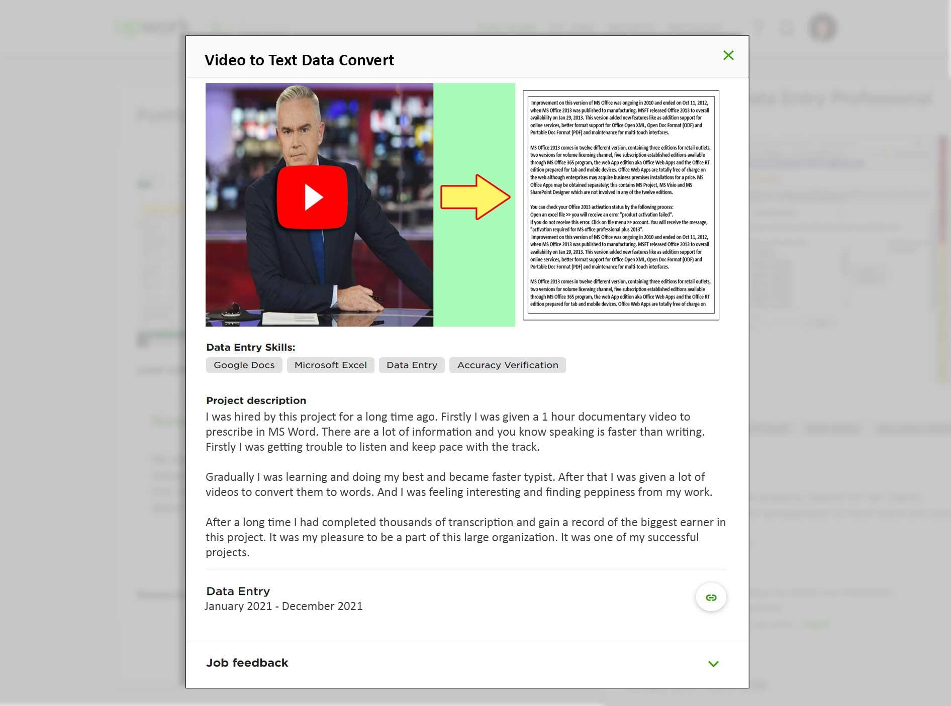 data entry portfolio sample (video to text data convert)